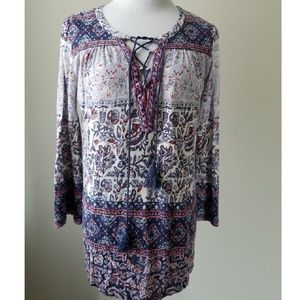 Lucky Brand Lace Up Neck Floral Print Boho Tunic